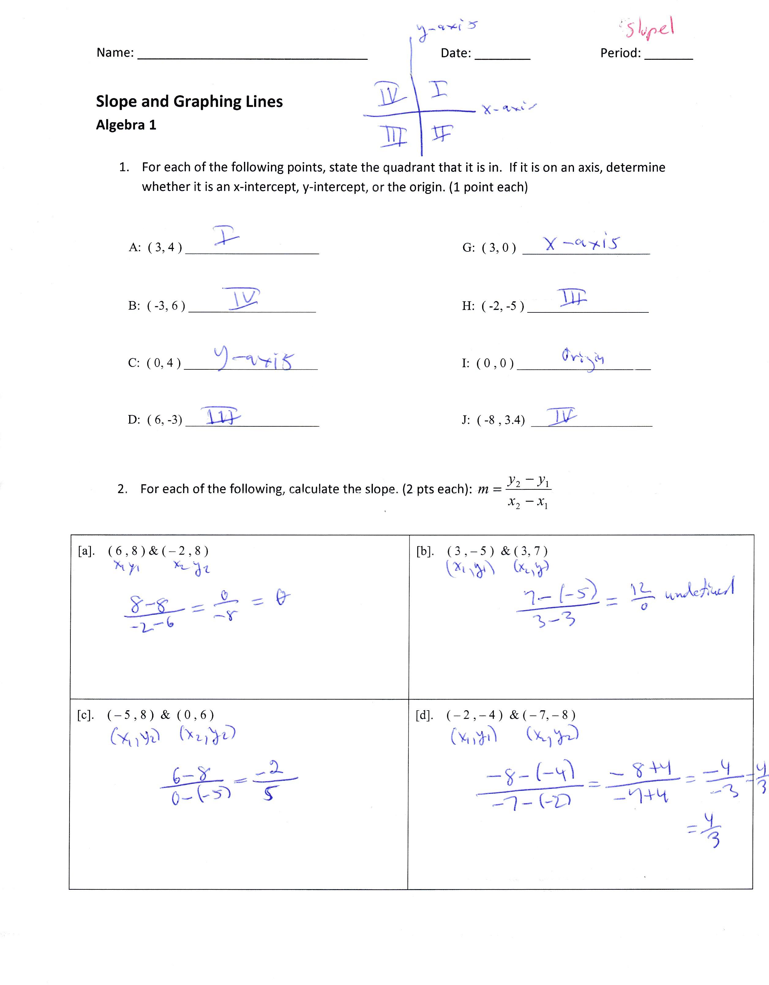 worksheet Algebra 1 Problems Queensammy Worksheets for – Slope Problems Worksheet